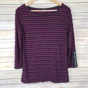 Ann Taylor Striped Exposed Zipper Sleeves Top
